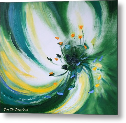 Green Metal Print featuring the painting From The Heart Of A Flower Green by Gina De Gorna