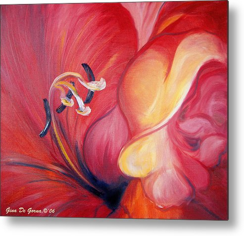 Red Metal Print featuring the painting From The Heart Of A Flower Red by Gina De Gorna