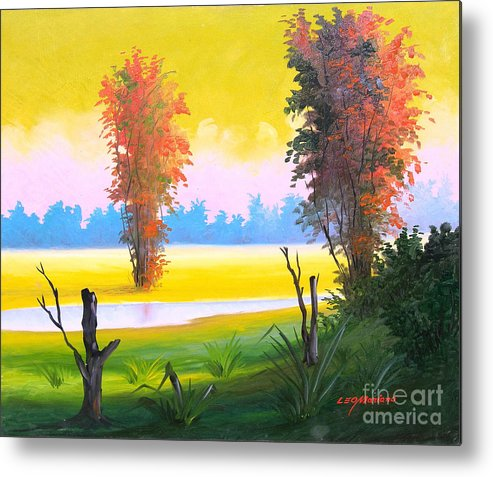 Landscape Metal Print featuring the painting G R E E N  D A Y - Series by Leomariano artist BRASIL