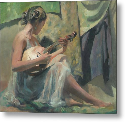 Domra Metal Print featuring the painting Girl Playing Domra by Denis Chernov