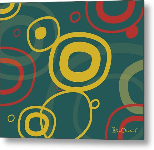 Retro Metal Print featuring the print Gogo - Retro-modern Abstract by Bill ONeil