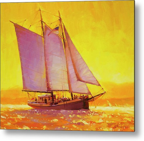 Sail Metal Print featuring the painting Golden Sea by Steve Henderson