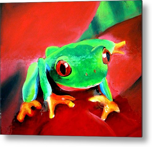 Frog Metal Print featuring the painting Green Tree Frog by Tania Kay