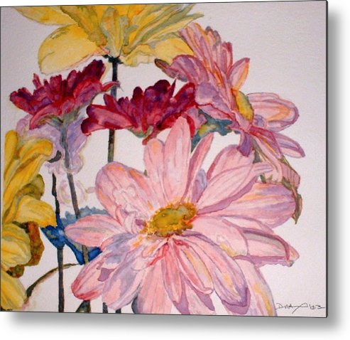 Floral Metal Print featuring the painting He Loves Me - Watercolor by Donna Hanna