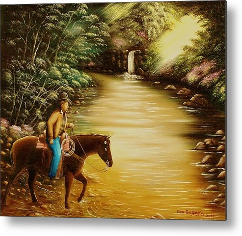 Horse And Rider Metal Print featuring the painting Heading Home by Gene Gregory