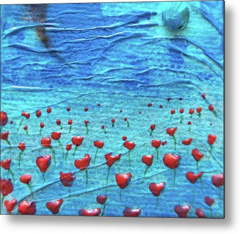 Poppies Metal Print featuring the mixed media Heart Poppies by Shawna Scarpitti