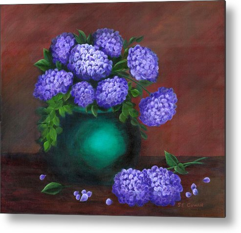 Floral Metal Print featuring the painting Heavenly Hydrangeas by SueEllen Cowan