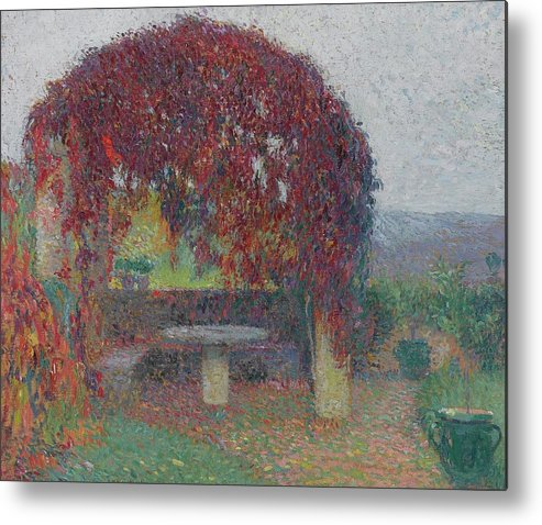 Henri Jean Guillaume Martin 1860 - 1943 The Bower Flowers Metal Print featuring the painting Henri Jean Guillaume Martin 1860 - 1943 The Bower Flowers by Adam Asar