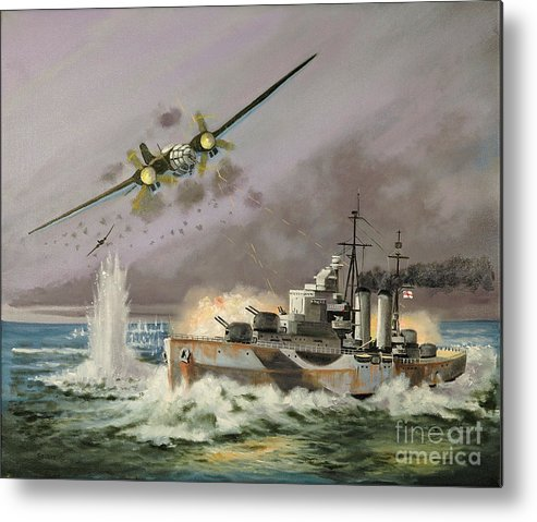Ships That Never Were Metal Print featuring the painting Hms Ulysses Attacked By Heinkel IIis Off North Cape by Glenn Secrest