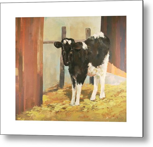 Cow Metal Print featuring the painting Holstein Calf by Robert Tutsky