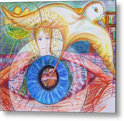 Holy Ghost Metal Print featuring the drawing Holy Ghost Shining Eyes by Richard Hubal