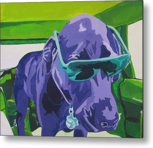 Dog Metal Print featuring the painting I Not Too Cool For Love by Hannah Lane