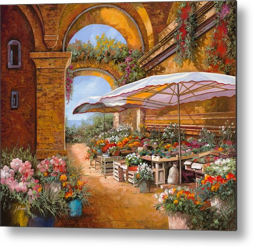 Market Metal Print featuring the painting Il Mercato Sotto I Portici by Guido Borelli