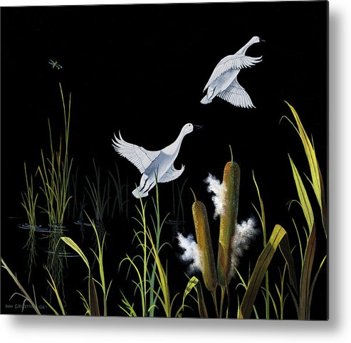 Birds Metal Print featuring the painting In Flight by Don Griffiths