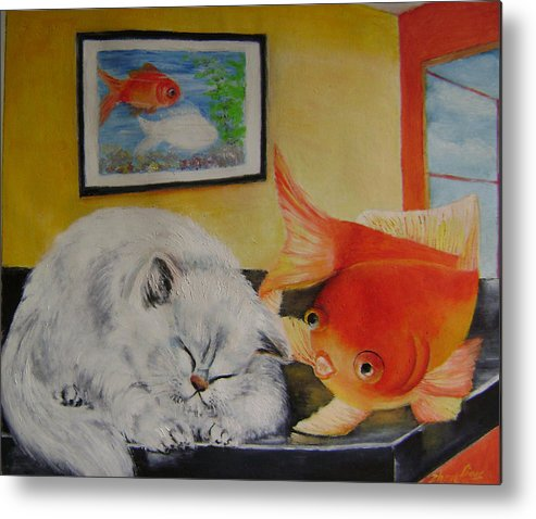 Fantasy Metal Print featuring the painting Kitty's Dream by Lian Zhen