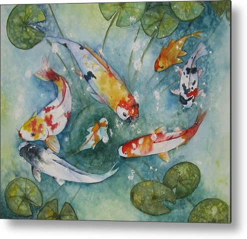 Koi Metal Print featuring the painting Koi With Lilies by Gina Hall