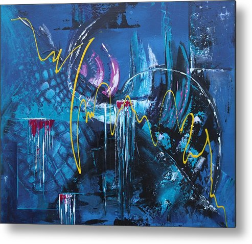 Abstract Metal Print featuring the painting Life Energy by Galina Zimmatore