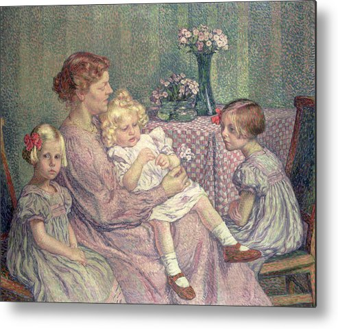 Madame Metal Print featuring the painting Madame Van De Velde And Her Children by Theo van Rysselberghe