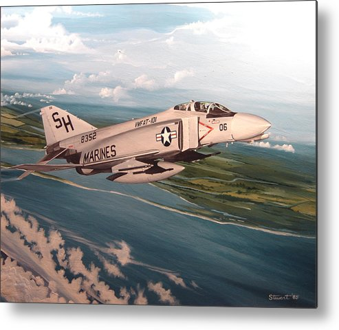 Aviation Metal Print featuring the painting Marine Phantom by Marc Stewart