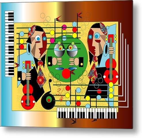 Music Metal Print featuring the digital art Martini Strings by George Pasini