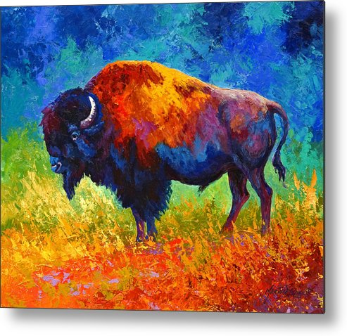 Wildlife Metal Print featuring the painting Master Of His Herd by Marion Rose