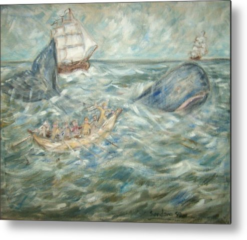 Seascape Whale Ship Ocean Whaleboat Metal Print featuring the painting Mobey Dick by Joseph Sandora Jr