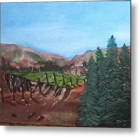Fence Metal Print featuring the painting Mountain Cabin by Gary Carpenter