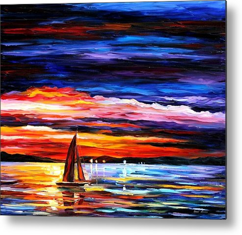 Seascape Metal Print featuring the painting Night Sea by Leonid Afremov