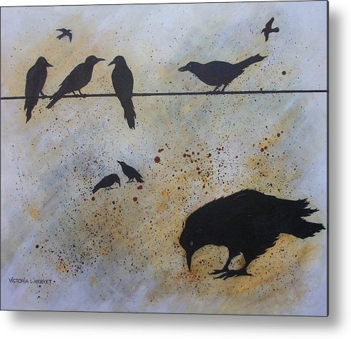 Crows Metal Print featuring the painting Nine Is A Secret by Victoria Heryet