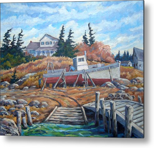 Boat Metal Print featuring the painting Novia Scotia by Richard T Pranke