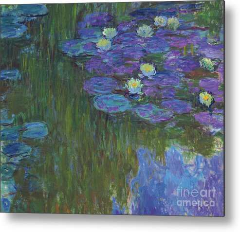 Claude Monet Metal Print featuring the painting Nympheas En Fleur, 1914 To 1917 by Claude Monet