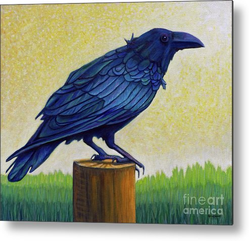 Raven Metal Print featuring the painting Old Priest In Passion by Brian Commerford