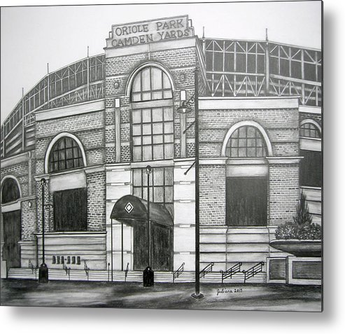 Camden Yards Metal Print featuring the drawing Oriole Park Camden Yards by Juliana Dube