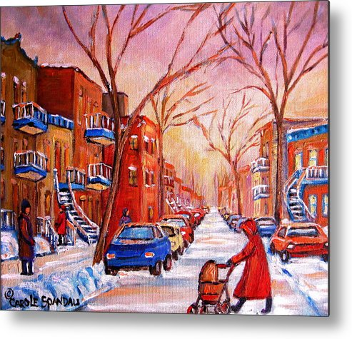 Montreal Metal Print featuring the painting Out For A Walk With Mom by Carole Spandau