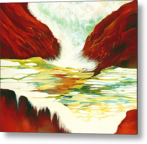 Oil Metal Print featuring the painting Overflowing by Peggy Guichu