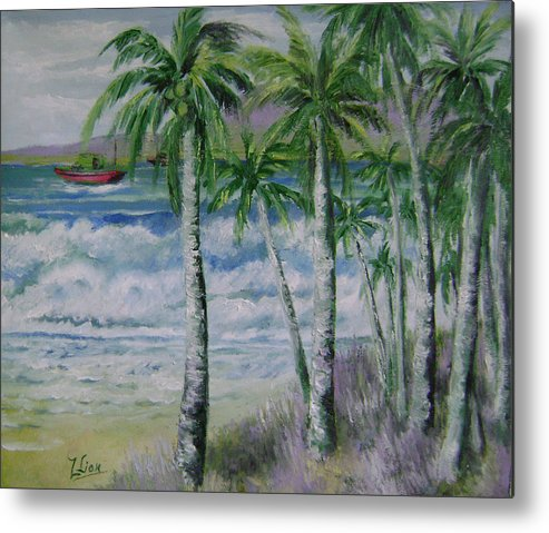 Landscape Metal Print featuring the painting Palm Beach by Lian Zhen