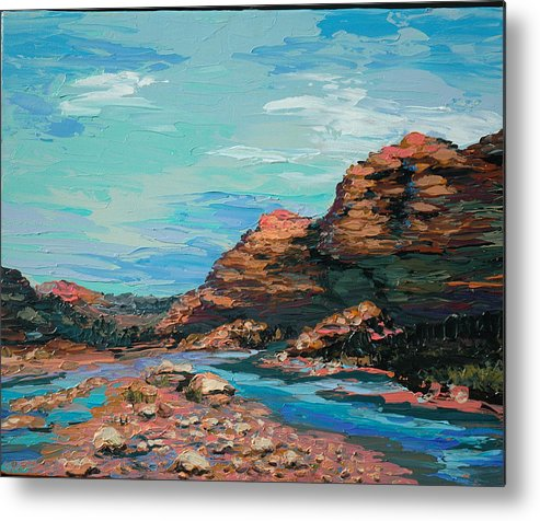 Landscape Metal Print featuring the painting Palma Canyon by Cathy Fuchs-Holman