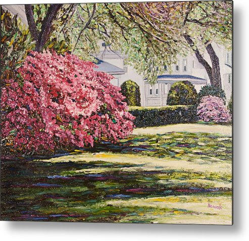 Park Metal Print featuring the painting Park Spring Blossom With Shadows by Richard Nowak