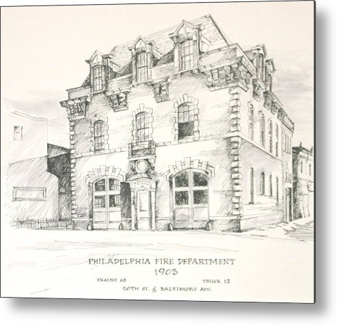 Philadelphia Firehouse Fire Firefighting Metal Print featuring the painting Philadelphia Firehouse by William McCullagh