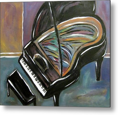 Impressionist Metal Print featuring the painting Piano With High Heel by Anita Burgermeister