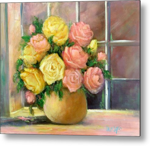 Roses Metal Print featuring the painting Pink And Yellow Roses by Sally Seago
