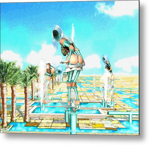 Pipe Figures Creating On Oasis Metal Print featuring the digital art Pipe Human Figures Creating On Oasis Number One by Leo Malboeuf