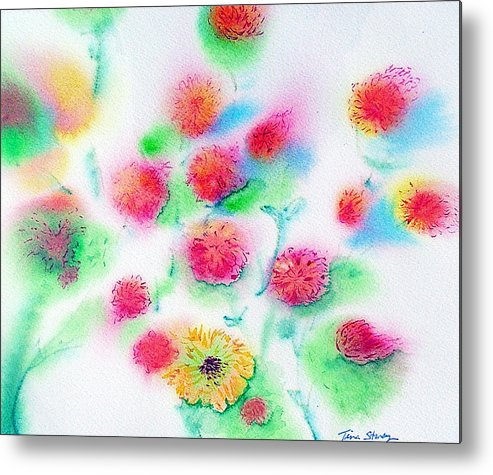 Flowers Metal Print featuring the painting Pixie Flowers by Tina Storey