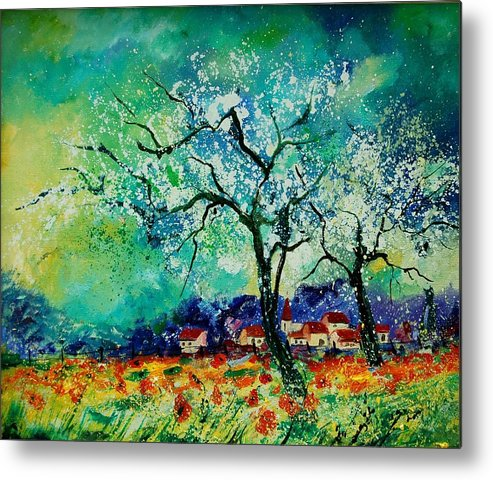 Landscape Metal Print featuring the painting Poppies And Appletrees In Blossom by Pol Ledent