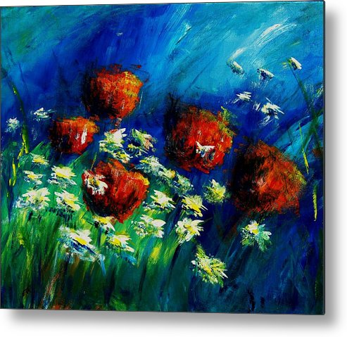Flowers Metal Print featuring the painting Poppies And Daisies by Veronique Radelet