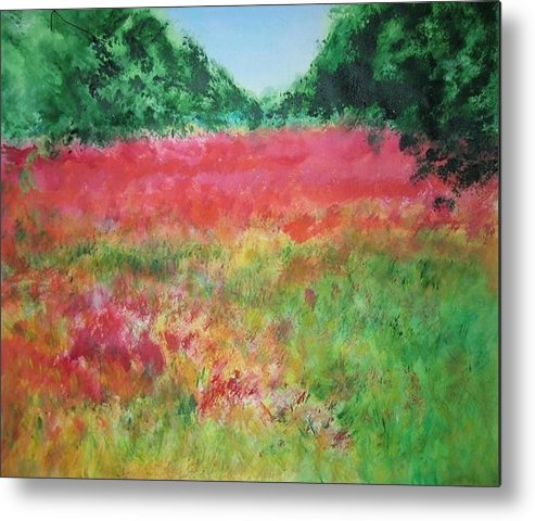 Lanscape Metal Print featuring the painting Poppy Field by Lizzy Forrester