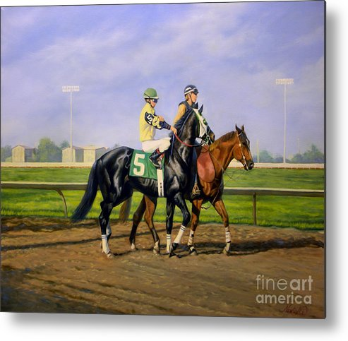 Horse Metal Print featuring the painting Post Parade by Jeanne Newton Schoborg