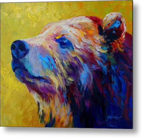 Bear Metal Print featuring the painting Pretty Boy - Grizzly Bear by Marion Rose
