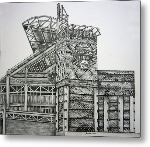 Progressive Field Metal Print featuring the drawing Progressive Field by Juliana Dube