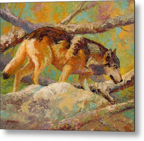 Wolf Metal Print featuring the painting Prowler - Grey Wolf by Marion Rose